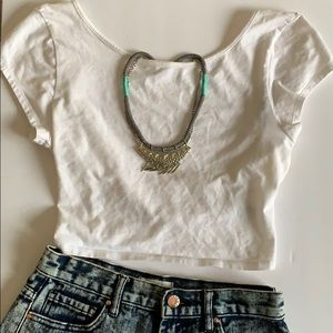American Eagle White Crisscross Back Crop Top